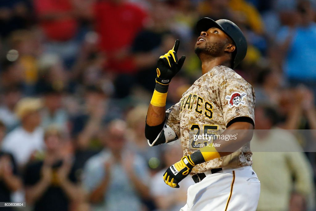 Gregory Polanco #25 of the Pittsburgh Pirates celebrates after hitting a solo home run in the sixth inning against the Tampa Bay Rays during inter-league play at PNC Park on June 29, 2017 in Pittsburgh, Pennsylvania.