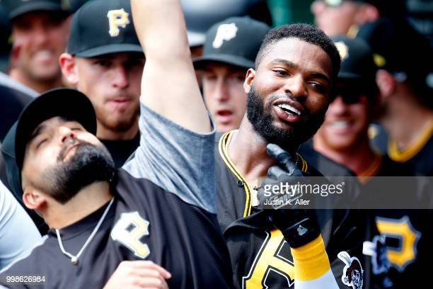 Gregory Polanco of the Pittsburgh Pirates celebrates after hitting a home run in the first inning during game one of a doubleheader against the...