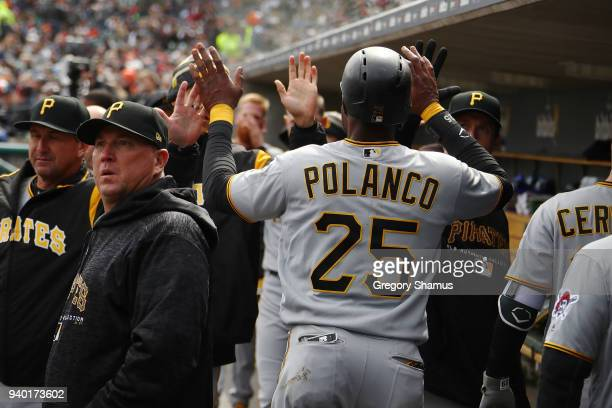 Gregory Polanco of the Pittsburgh Pirates celebrates with teammates after scoring in the sixth inning while playing the Detroit Tigers during Opening...