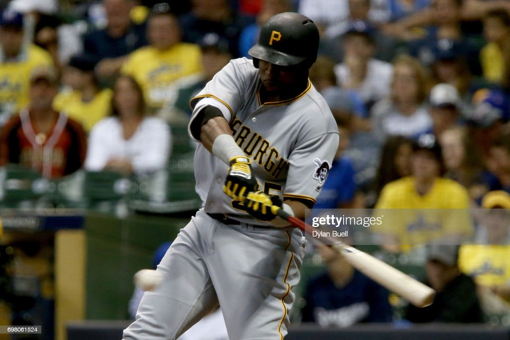 Gregory Polanco #25 of the Pittsburgh Pirates hits a double in the seventh inning against the Milwaukee Brewers at Miller Park on June 19, 2017 in Milwaukee, Wisconsin.
