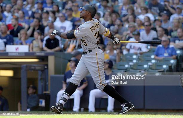 Gregory Polanco of the Pittsburgh Pirates hits a home run in the third inning against the Milwaukee Brewers at Miller Park on July 31 2016 in...