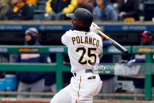 Gregory Polanco of the Pittsburgh Pirates hits a RBI double in the first inning against the Minnesota Twins during interleague play at PNC Park on...