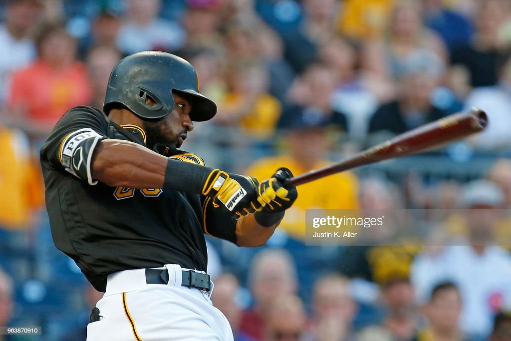 Gregory Polanco #25 of the Pittsburgh Pirates hits a sacrifice fly in the second inning against the Chicago Cubs at PNC Park on May 30, 2018 in Pittsburgh, Pennsylvania.