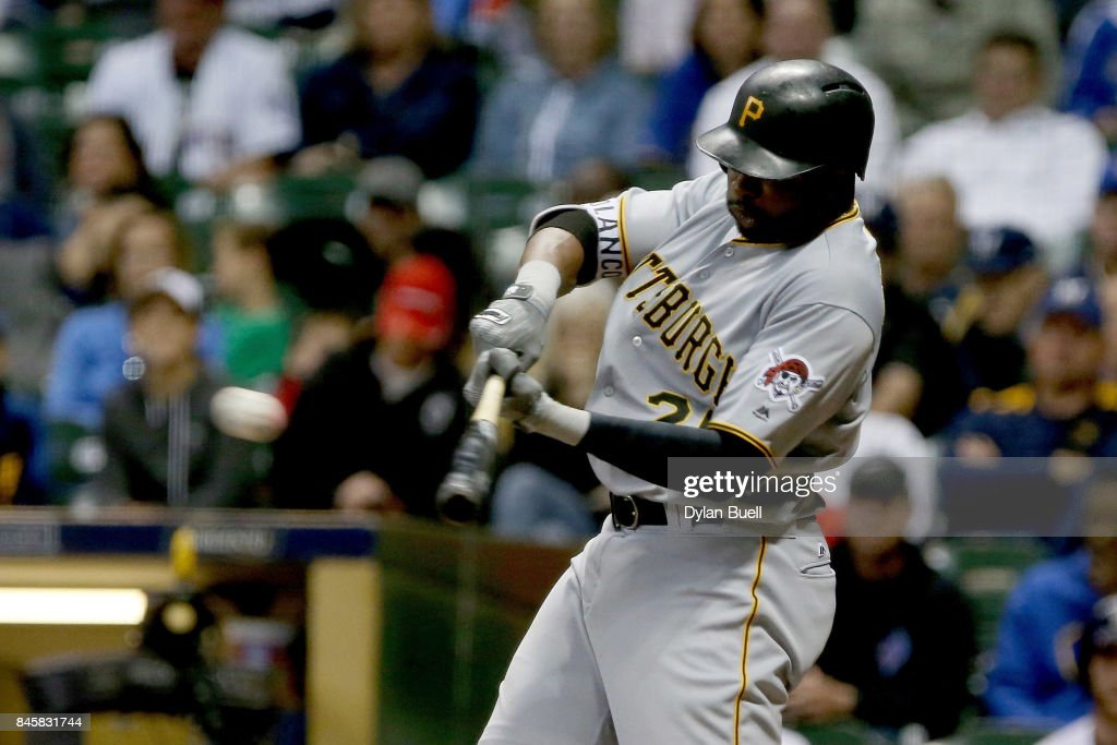 Gregory Polanco #25 of the Pittsburgh Pirates hits a single in the sixth inning against the Milwaukee Brewers at Miller Park on September 11, 2017 in Milwaukee, Wisconsin.