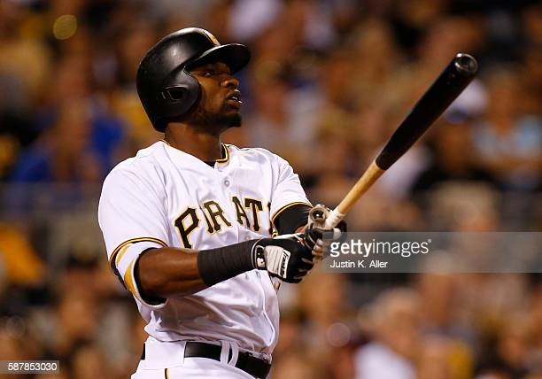 Gregory Polanco of the Pittsburgh Pirates hits a three run home run in the fifth inning during the game against the San Diego Padres at PNC Park on...