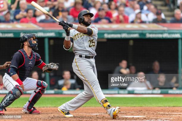 Gregory Polanco of the Pittsburgh Pirates hits a tworun home run during the second inning against the Cleveland Indians at Progressive Field on July...