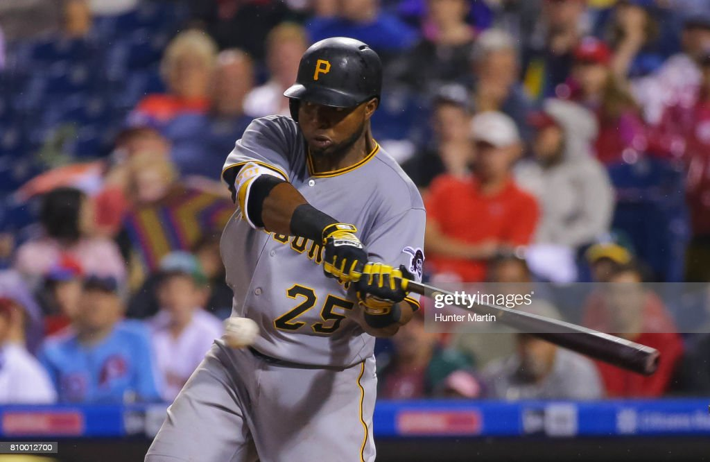 Gregory Polanco #25 of the Pittsburgh Pirates hits an RBI single in the eighth inning during a game against the Philadelphia Phillies at Citizens Bank Park on July 6, 2017 in Philadelphia, Pennsylvania. The Pirates won 6-3.