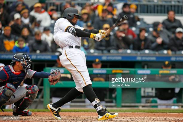 Gregory Polanco of the Pittsburgh Pirates in action against the Minnesota Twins during interleague play at PNC Park on April 2 2018 in Pittsburgh...