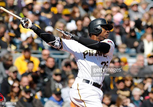 Gregory Polanco of the Pittsburgh Pirates in action during opening day against the St Louis Cardinals at PNC Park on April 3 2016 in Pittsburgh...