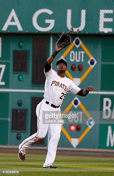 Gregory Polanco of the Pittsburgh Pirates plays the field during the game against the New York Mets at PNC Park on May 22 2015 in Pittsburgh...