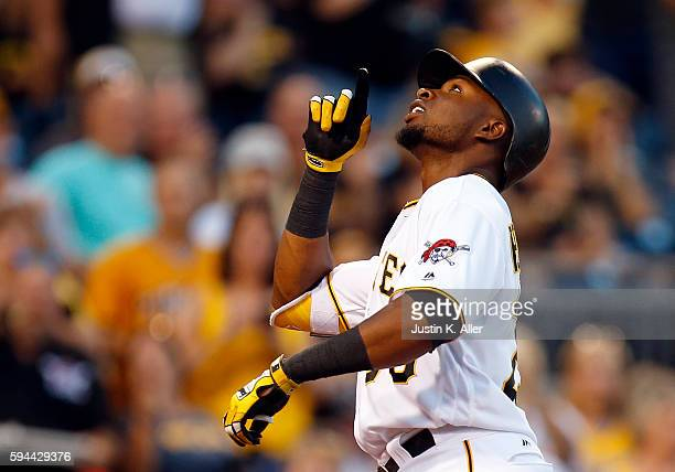 Gregory Polanco of the Pittsburgh Pirates reacts after hitting a solo home run in the third inning during interleague play against the Houston Astros...