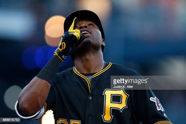 Gregory Polanco of the Pittsburgh Pirates reacts after hitting a solo home run in the fourth inning against the New York Mets at PNC Park on May 26...
