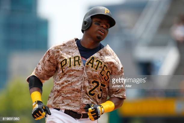 Gregory Polanco of the Pittsburgh Pirates rounds second after hitting a solo home run in the fourth inning against the Milwaukee Brewers at PNC Park...