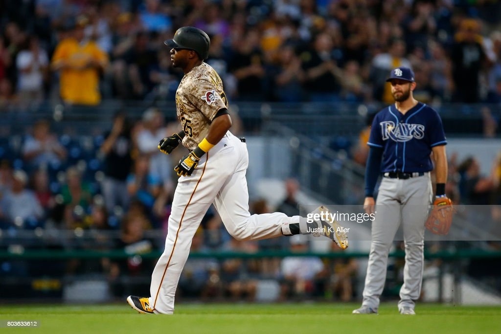 Gregory Polanco #25 of the Pittsburgh Pirates rounds second base after hitting a solo home run in the sixth inning against the Tampa Bay Rays during inter-league play at PNC Park on June 29, 2017 in Pittsburgh, Pennsylvania.