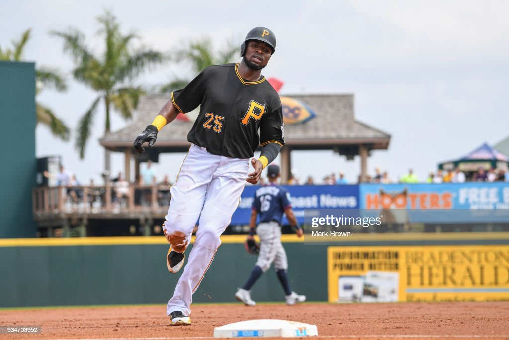 Gregory Polanco #25 of the Pittsburgh Pirates rounds the bases after a homerun by Josh Bell #55 of the Pittsburgh Pirates during the spring training game between the Pittsburgh Pirates and the Minnesota Twins at LECOM Field on March 19, 2018 in Bradenton, Florida.