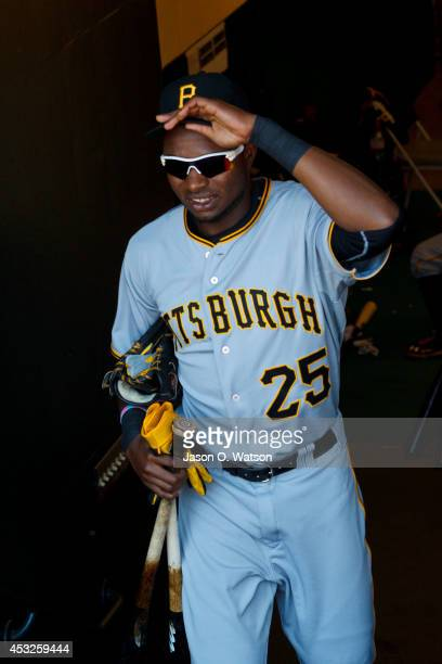 Gregory Polanco of the Pittsburgh Pirates stands in the dugout before the game against the San Francisco Giants at ATT Park on July 30 2014 in San...