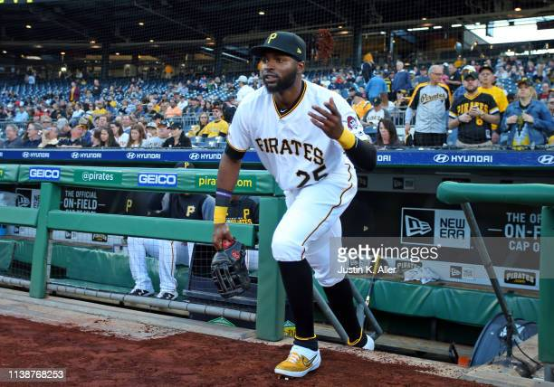 Gregory Polanco of the Pittsburgh Pirates takes the field against the Arizona Diamondbacks at PNC Park on April 22 2019 in Pittsburgh Pennsylvania