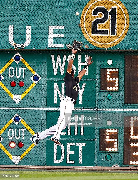 Gregory Polanco of the Pittsurgh Pirates makes a catch along the right field wall in the sixth inning against the Milwaukee Brewers during the game...