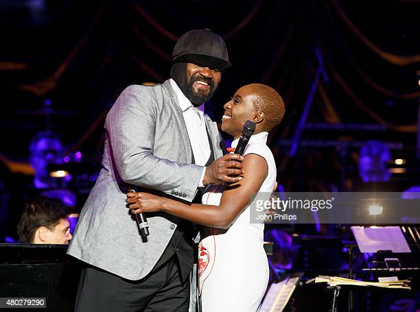 Gregory Porter and Laura Mvula perform on Day 3 of The Henley Festival on July 10 2015 in HenleyonThames England