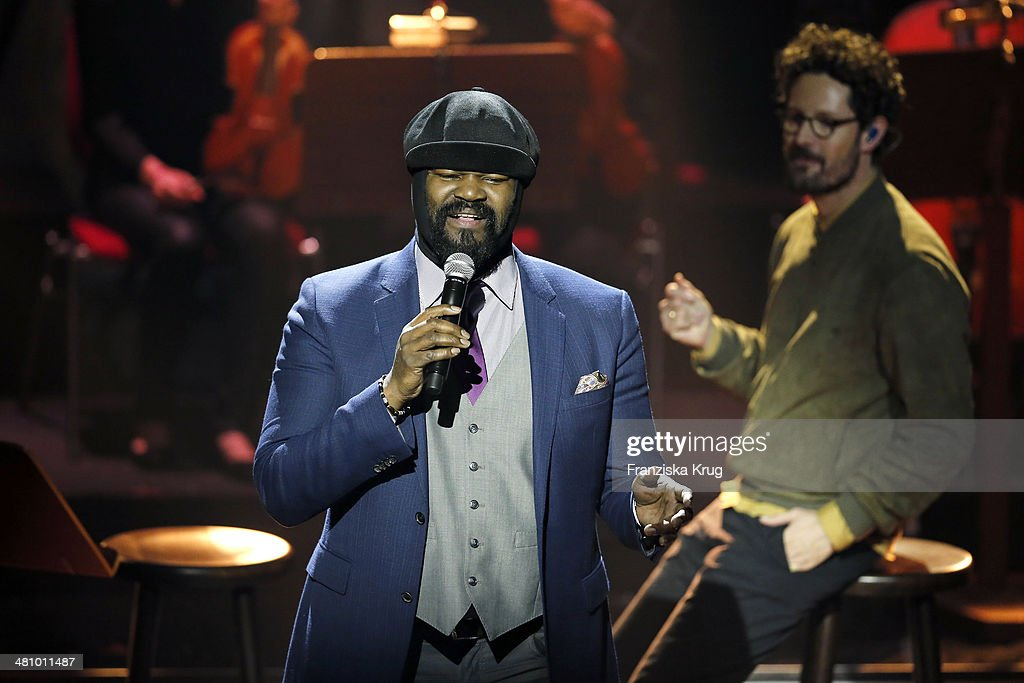 Gregory Porter and Max Herre perform at the Echo Award 2014 show on March 27, 2014 in Berlin, Germany.