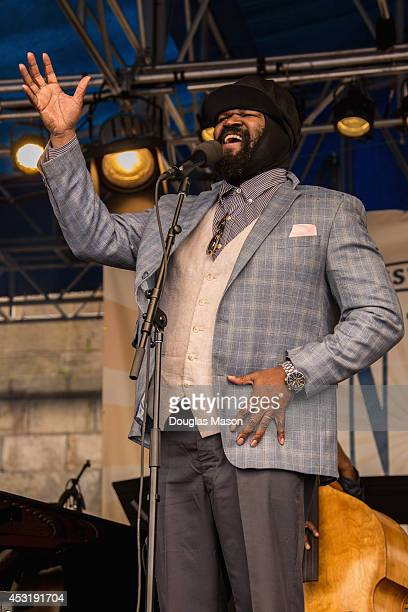 Gregory Porter performs during the 2014 Newport Jazz Festival at Fort Adams State Park on August 1 2014 in Newport Rhode Island