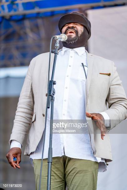 Gregory Porter performs during the Newport Jazz Festival 2018 at Fort Adams State Park on August 5 2018 in Newport Rhode Island