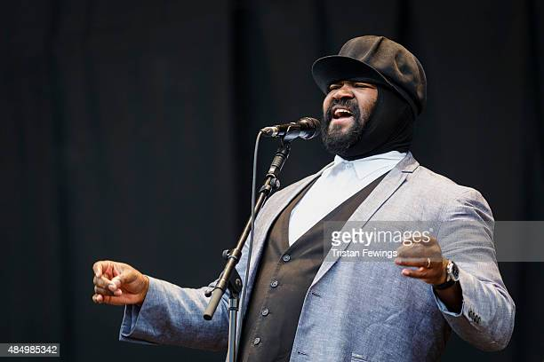 Gregory Porter performs on Day 2 of the V Festival at Hylands Park on August 23 2015 in Chelmsford England