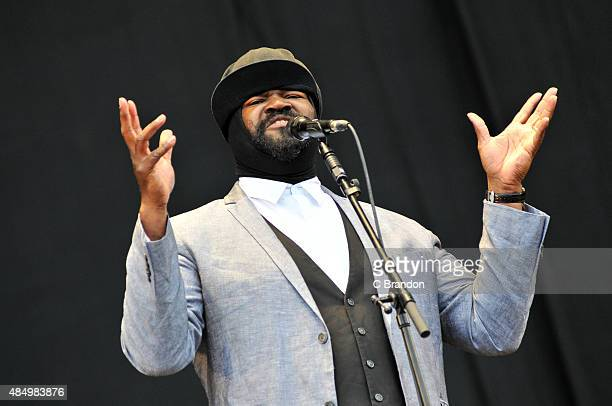 Gregory Porter performs on stage during Day 2 of the V Festival at Hylands Park on August 23 2015 in Chelmsford England