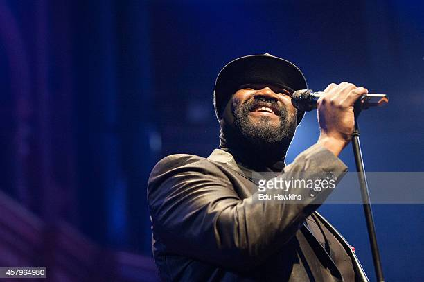 Gregory Porter performs on stage for Bluesfest at Royal Albert Hall on October 27 2014 in London United Kingdom