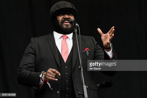 Gregory Porter performs on the Pyramid Stage on day 2 of the Glastonbury Festival at Worthy Farm Pilton on June 26 2016 in Glastonbury England Now...
