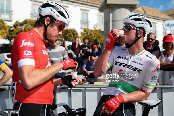 Gregory Rast and Ryan Mullen of TrekSegafredo drink coffee before the 5th stage of the cycling Tour of Algarve between Faro and Alto do Malhao on...