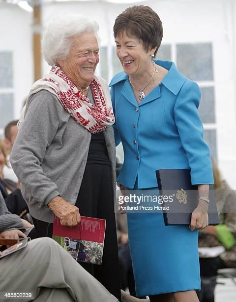 Barbara Bush and Sen Susan Collins share a laugh after the senator spoke at a dedication ceremony for a garden honoring Barbara Bush at the town...
