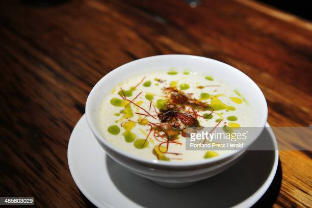 This white gazpacho proved to be a pleasurable purTe of poached garlic cucumber almonds bread and olive oil topped with spiced almonds
