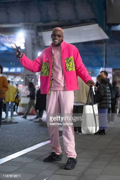 Gregory Robert is seen wearing pink and yellow fleece jacket pastel pink sweater and pants during the Amazon Fashion Week TOKYO 2019 A/W on March 23...
