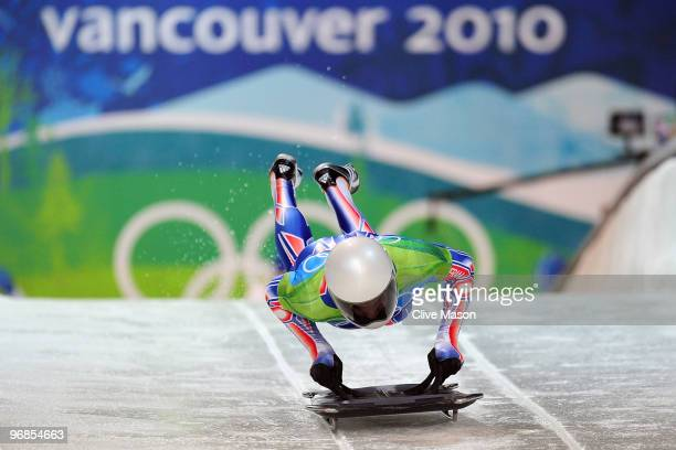 Gregory Saint-Genies of France competes in the men's skeleton run 1 on day 7 of the 2010 Vancouver Winter Olympics at The Whistler Sliding Centre on...