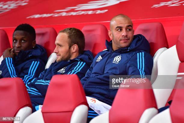 Gregory Sertic of Marseille Valere Germain of Marseille and Bouna Sarr of Marseille on the bench during the Ligue 1 match between Lille OSC and...