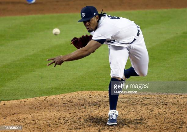 Gregory Soto of the Detroit Tigers pitches against the Kansas City Royals during the ninth inning at Comerica Park on May 11 in Detroit, Michigan....
