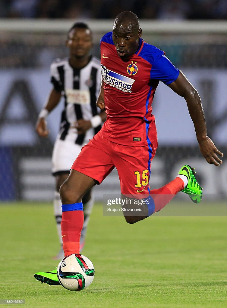 BELGRADE, SERBIA - AUGUST 05. Gregory Tade of FC Steaua Bucharest in action during the UEFA Champions League Third Qualifying Round Second Leg match between FC Partizan Belgrade and FC Steaua Bucharest at FC Partizan stadium in Belgrade, Serbia on Wednesday, August 05, 2015.