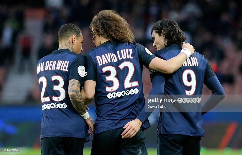 Gregory Van Der Wiel of Paris Saint-Germain celebrate his goal of Edinson Cavani with David Luiz during the French Ligue 1 between Paris Saint-Germain and Stade de Reims at Parc Des Princes on february 20, 2016 in Paris, France.