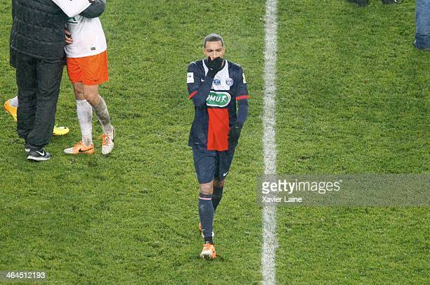 Gregory Van Der Wiel of Paris SaintGermain is disapointed after the defeat during the French Cup match between Paris SaintGermain FC and Montpellier...