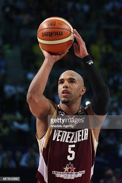 Gregory Vargas of Venezuela in action during a semifinal game of the 2015 FIBA Americas Championship between Canada and Venezuela at The Palacio de...