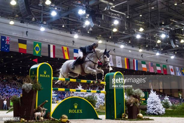 Gregory Wathelet of Belgium rides Coree for the 3rd place during the Rolex Grand Prix part of the Rolex Grand Slam of Show Jumping at CHI Geneva at...