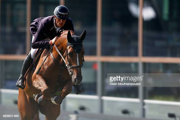 Gregory Wathelet of Belgium riding Algorhythem competes in the Class 01 CSI5* 145m Two Phases A A against the clock during the Longines Global...