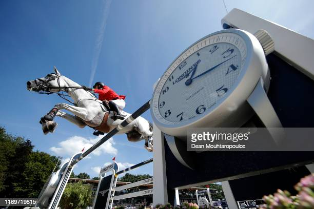 Gregory Wathelet of Belgium riding MJT Nevados S competes during Day 4 of the Longines FEI Jumping European Championship 2nd part, team Jumping 1st...