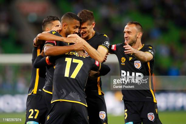 Gregory Wüthrich of the Glory celebrates a goal during the round nine ALeague match between Melbourne City and the Perth Glory at AAMI Park on...