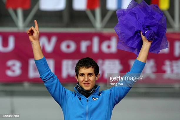 Greig Daniel of Australia celebrates during the award ceremony after winning the Division B Men's 500m race during the day one of the Essent ISU...