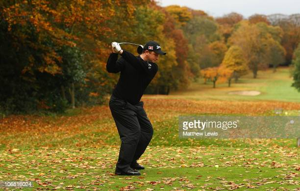Greig Hutcheon of Banchory tees off on the 3rd hole during the final day of the Srixon PGA Playoff Final at Little Aston Golf Club on November 4 2010...
