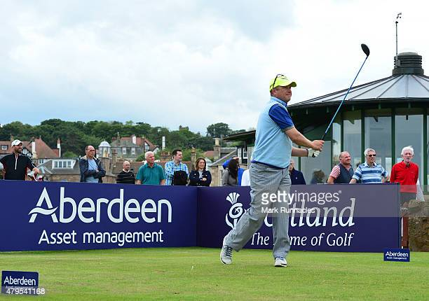Greig Hutcheon of Paul Lawrie Golf Centre in action on the first tee during the second day of the AAM Scottish Open Qualifier at North Berwick Golf...