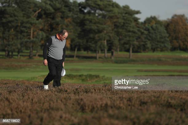 Greig Hutcheon of Paul Lawrie Golf Centre looks for his ball during Day 1 of the PGA PlayOffs at Walton Heath Golf Club on October 30 2017 in...