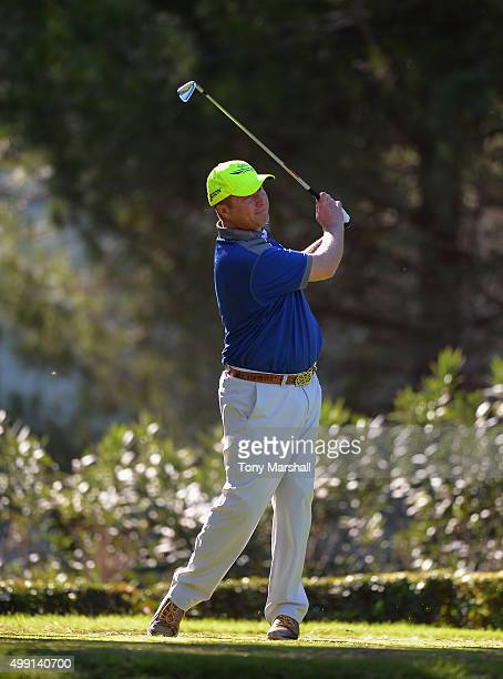 Greig Hutcheon of Paul Lawrie Golf Centre plays his first shot on the 8th tee during the thrd round of the PGA Play Offs at Antalya Golf Club PGA...